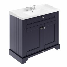 Hudson Reed Old London Floor Standing Vanity Unit with 3TH Basin 1000mm Wide - Twilight Blue