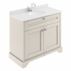 Hudson Reed Old London Vanity Unit with 1TH White Basin 1000mm Wide - Timeless Sand