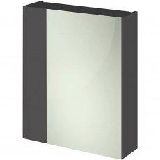 Hudson Reed Quartet Single Door Mirror Unit (75/25) 600mm Wide - Gloss Grey