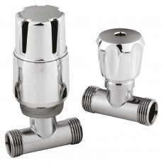 Hudson Reed Straight Thermostatic Bi-Directional Radiator Valves Pair Lockshield - Chrome