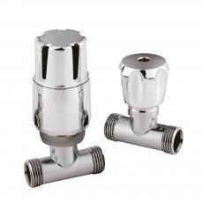 Hudson Reed Straight Thermostatic Bi-Directional Radiator Valves Pair Lockshield - Chrome