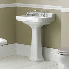 Hudson Reed Richmond Basin with Full Pedestal 500mm Wide - 2 Tap Hole