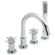 Hudson Reed Tec Crosshead 4 Hole Bath Shower Mixer Tap with Shower Kit & Hose Retainer