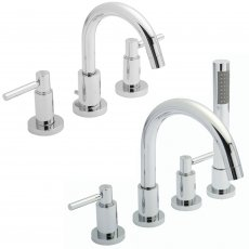 Hudson Reed Tec Lever Basin Mixer Tap and Shower Mixer Tap with Shower Kit, Chrome