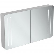 Ideal Standard 2-Door Mirror Cabinet with Bottom Ambient and Front Light 1230mm Wide - Aluminium