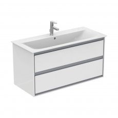 Ideal Standard Concept Air 2 Drawers Wall Hung Vanity Basin 1000mm Gloss White/Matt Grey
