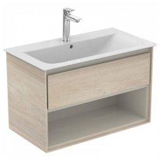 Ideal Standard Concept Air 1 Drawer Wall Hung Vanity Basin 800mm Wood Light Brown/Matt Light Brown