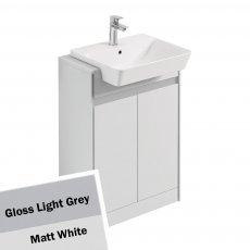 Ideal Standard Concept Air 2 Doors Semi Countertop Basin Unit 600mm Gloss Light Grey/Matt White