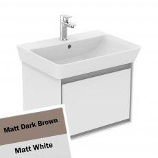Ideal Standard Concept Air Wall Hung Vanity Basin 600mm Matt Dark Brown/Matt White