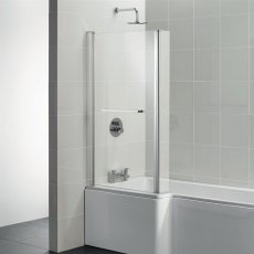 Ideal Standard Tempo Cube Bath Screen with Hinged End Panel and Towel Rail 1400mm High