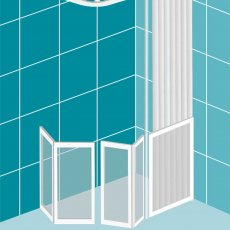 Impey Elevate Option E Corner Half Height Door 1500mm x 700mm - Right Handed