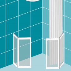 Impey Elevate Option H Corner Half Height Door 1300mm x 700mm - Right Handed