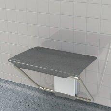 Impey Slimfold Shower Bench, Black Granite