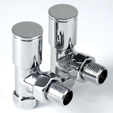 Inta Angled Modern Radiator Valves Pair, Chrome