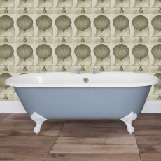 Jig Bisley Cast Iron Roll Top Bath including Chrome Feet - 0 Tap Hole