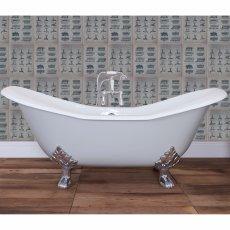 Hurlingham Banburgh Large Cast Iron Roll Top Slipper Bath including Chrome Feet - 0 Tap Hole