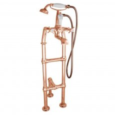 Hurlingham Freestanding Large Mixer Taps 1040mm H with Pipe and Leg Support - Copper
