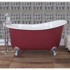 Jig Lyon Cast Iron Roll Top Slipper Bath including White Feet - 0 Tap Hole