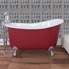 Jig Lyon Cast Iron Roll Top Slipper Bath including Chrome Feet - 0 Tap Hole