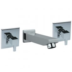 JTP Kubix Bath Tap with Spout Dual Handle Wall Mounted - Chrome