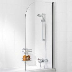 Signature Contract Curved Single Panel Bath Screen 1400mm H x 800mm W - 8mm Glass
