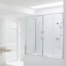 Signature Contract Over Bath Semi Frameless Double Sliding Door 1500mm H x 1500mm W - 6mm Glass