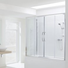 Signature Contract Over Bath Semi Frameless Double Sliding Door 1500mm H x 1600mm W - 6mm Glass