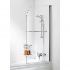 Signature Contract Curved Bath Screen with Towel Rail 1400mm H x 800mm W - 6mm Glass