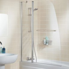 Signature Contract Double Panel Sculpted Bath Screen with Towel Rail 1400mm H x 1175mm W - 6mm Glass