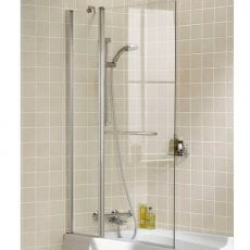 Signature Contract Double Panel Square Bath Screen with Towel Rail 1500mm H x 944mm W - 6mm Glass