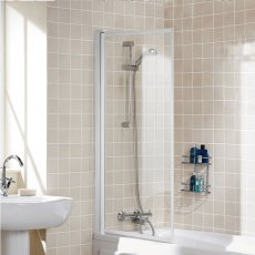Signature Contract Single Panel White Framed Bath Screen 1400mm H x 760mm W - 4mm Glass