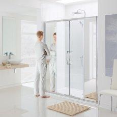 Lakes Classic Mirror Semi Frameless Double Sliding Shower Door 1850mm H x 1700mm W - Mirror Finish