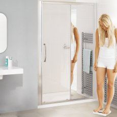 Lakes Classic Mirror Semi Frameless Sliding Shower Door 1850mm H x 1200mm W - Mirror Finish