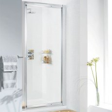 Lakes Classic Pivot Shower Door 1850mm H x 1000mm W - Silver