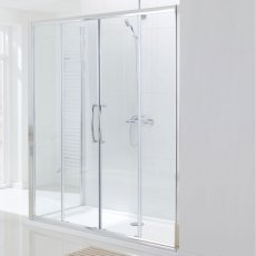 Lakes Classic Semi Frameless Double Slider Shower Door 1850mm H x 2000mm W - Silver