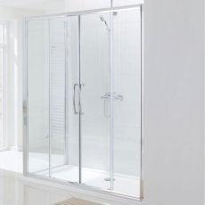 Lakes Classic Semi Frameless Double Slider Shower Door 1850mm H x 1700mm W - Silver