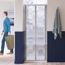 Lakes Classic Semi Frameless Bi-Fold Shower Door 1850mm H x 900mm W - White Frame