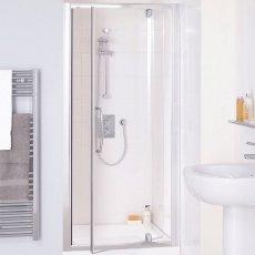 Lakes Classic Semi Frameless Pivot Shower Door 1850mm H x 700mm W - Silver
