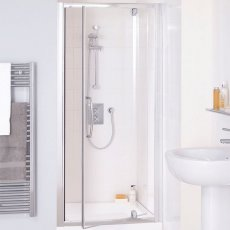 Lakes Classic Semi Frameless Pivot Shower Door 1850mm H x 750mm W - Silver