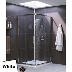 Lakes Classic Semi Frameless Corner Entry Shower Enclosure 900mm x 900mm - White Frame