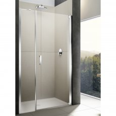 Lakes Italia Diletto Semi Frameless Wall Hinged Pivot Shower Door and In-Line Panel 2000mm H x 1200mm W - Right Handed