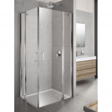 Lakes Italia Tempo Semi Frameless Pivot Door and In-Line Panel 2000mm H x 1000mm W - Right Handed Only