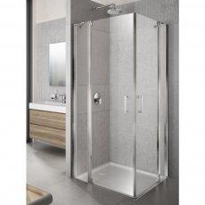 Lakes Italia Tempo Semi Frameless Corner Entry Pivot Shower Enclosure 700mm x 700mm - 6mm Glass