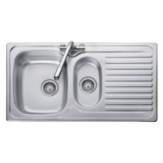 Leisure Linear 1.5 Bowl Reversible Kitchen Sink with Waste 950mm L x 508mm W - Stainless Steel