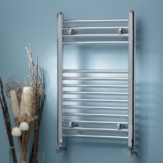 MaxHeat MaxRail Straight Heated Towel Rail 800mm H x 400mm W Chrome