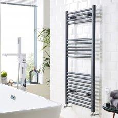 MaxHeat MaxRail Straight Heated Towel Rail 1200mm H x 500mm W - Anthracite