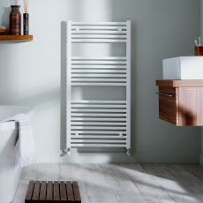 MaxHeat Trade Straight Heated Towel Rail - 1200mm High x 450mm Wide - White