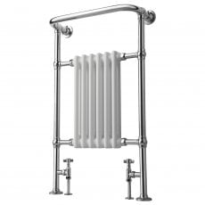 MaxHeat Truro Traditional Radiator Heated Towel Rail 963mm H x 673mm W Chrome/White