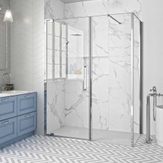 Merlyn 10 Series Inline Pivot Shower Door with Tray 1600mm Wide - Clear Glass