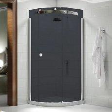 Merlyn 10 Series Single Quadrant Shower Enclosure with Tray 900mm x 900mm RH - Smoked Black Glass